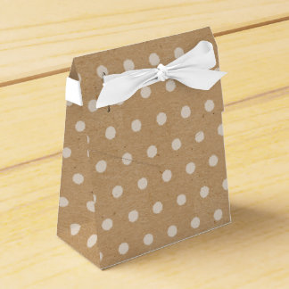 White Polka Dots On Faux Kraft Paper Background Favor Box