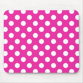 White polka dots on fuchsia mouse pad