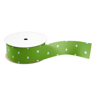 White Polka Dots on Green Ribbon Grosgrain Ribbon