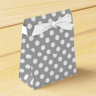 White polka dots on grey party favor boxes