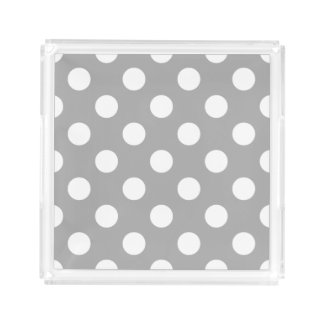 White polka dots on grey serving tray