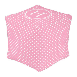 White Polka Dots on Happy Pink Monogram Pouf