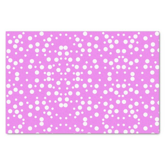 White Polka Dots on Lavender Pink Tissue Paper