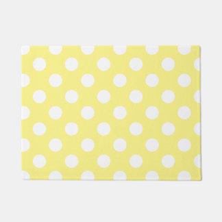 White polka dots on lemon yellow doormat