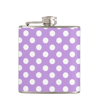 White polka dots on lilac flasks