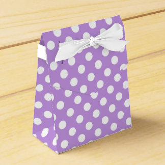 White polka dots on lilac party favor boxes
