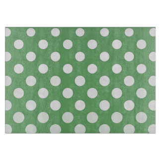 White polka dots on lime green cutting boards