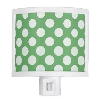 White polka dots on lime green nite lites
