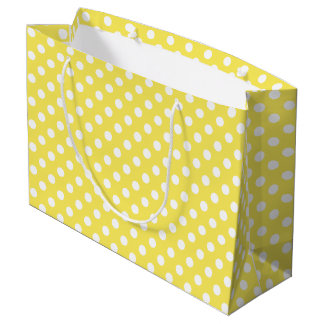 White Polka Dots on Maize Yellow Background Large Gift Bag