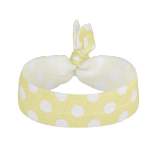 White Polka Dots on Maize Yellow Background Ribbon Hair Ties