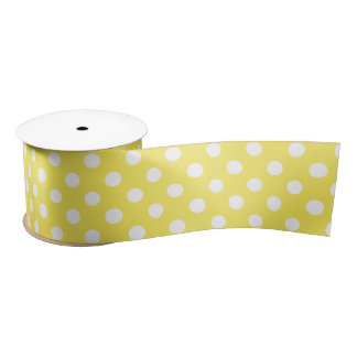 White Polka Dots on Maize Yellow Background Satin Ribbon