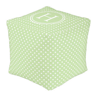 White Polka Dots on Mint Green Monogram Pouf
