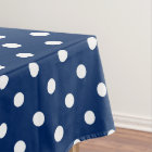 White Polka Dots on Navy Blue Tablecloth