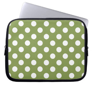 White polka dots on olive green computer sleeve