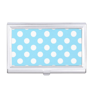White polka dots on pale blue business card case