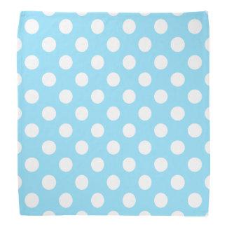 White polka dots on pale blue kerchiefs