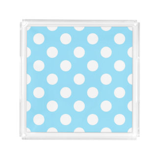 White polka dots on pale blue serving tray