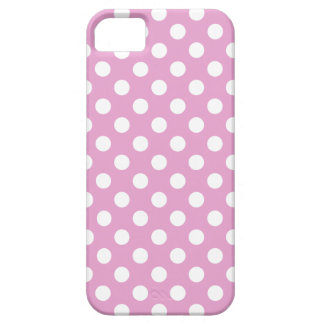 White polka dots on pale pink iPhone 5 covers