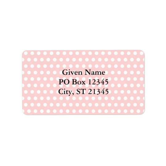 White Polka Dots on Pale Pink Label