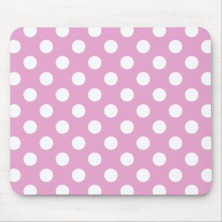 White polka dots on pale pink mouse pad