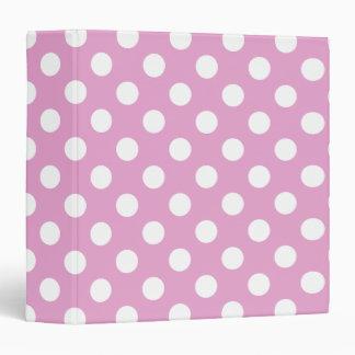 White polka dots on pale pink vinyl binders