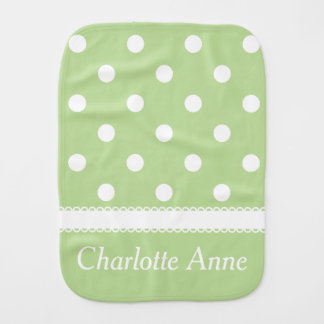 White Polka Dots on Pastel Mint Green Personalized Burp Cloths