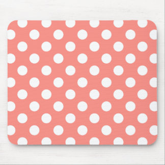 White polka dots on peach mouse pad