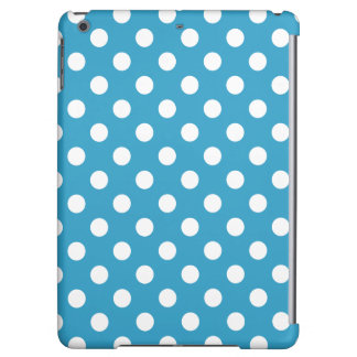 White Polka Dots on Peacock Blue Background iPad Air Case