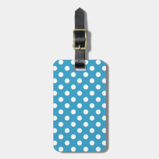 White Polka Dots on Peacock Blue Background Luggage Tag
