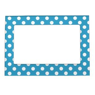 White Polka Dots on Peacock Blue Background Magnetic Frame