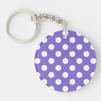 White polka dots on periwinkle Double-Sided round acrylic keychain