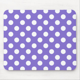 White polka dots on periwinkle mouse pad