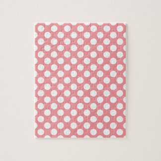 White polka dots on pink background jigsaw puzzle