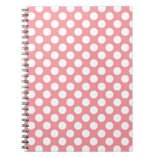 White polka dots on pink background notebooks