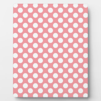 White polka dots on pink background plaque