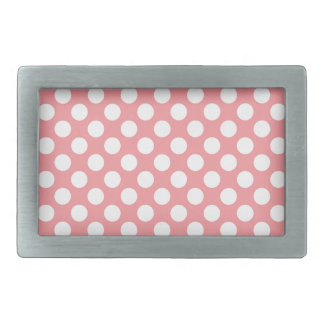 White polka dots on pink background rectangular belt buckle