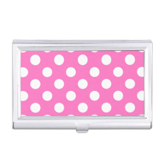 White polka dots on pink business card holder