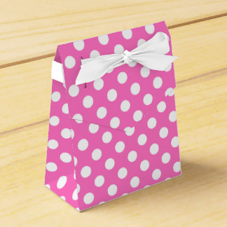 White polka dots on pink favor boxes