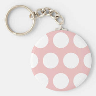White Polka Dots on Pink Keychain