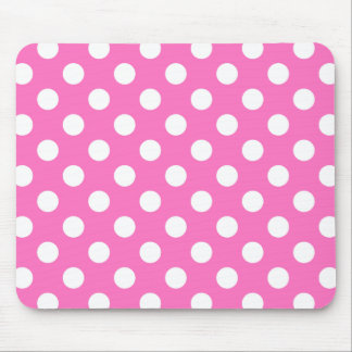 White polka dots on pink mouse pad