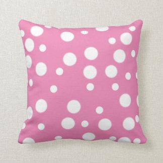 White Polka Dots on Pink Reversible Pillows