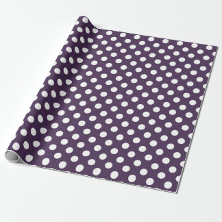 White polka dots on plum purple