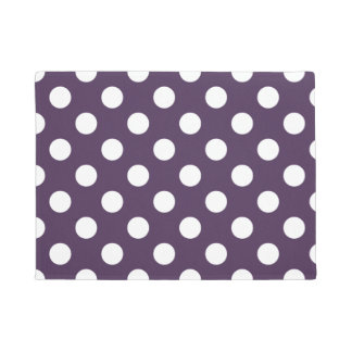 White polka dots on plum purple doormat