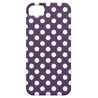White polka dots on plum purple iPhone 5 cover