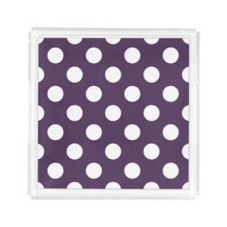 White polka dots on plum purple perfume tray