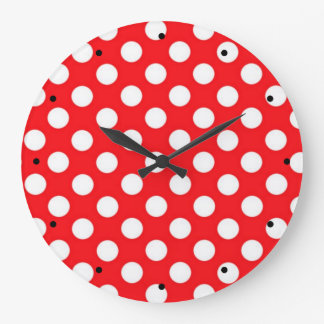 White polka Dots On Red Background Large Clock