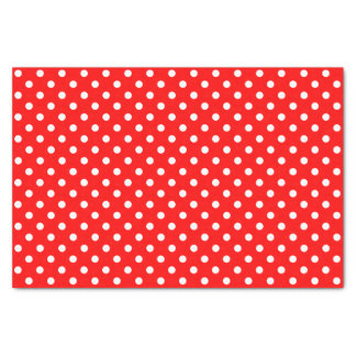 White Polka Dots on Red Background Tissue Paper
