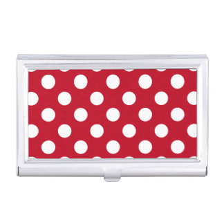 White polka dots on red business card case