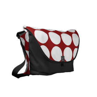 White Polka Dots on Red Courier Bags
