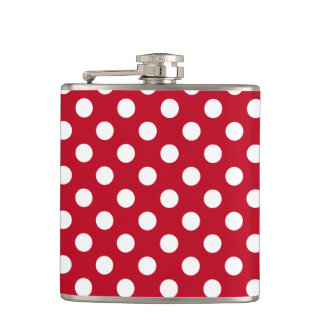 White polka dots on red flasks